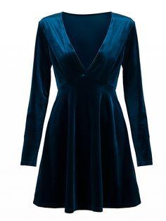 Blue Plunge V-neck Long Sleeve Velvet Skater Dress: Soft-touch velvet;Deep v-neck;Fit-and-flare style;Regular fit - true to size;Machine…