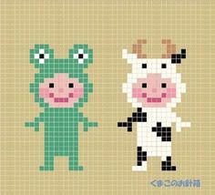 http://blog.goo.ne.jp/kumako_2007/e/aaf0a21be1a6860b9f2c9e3d00546b6a Cross Stitch Family, Mini Cross Stitch, Pixel Crochet, Crochet Chart, Knit Crochet, Perler Beads, Fuse Beads, Cross Stitch Charts, Cross Stitch Designs