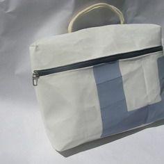 Cartable porte documents en voile recyclée - sacoche bateau 30x23cm