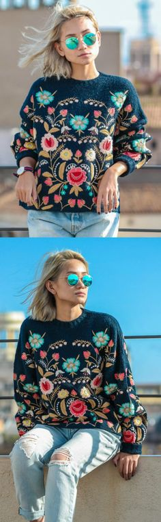 A Lovely Rich Embroidery Sweater is now available at $75 from Pasaboho. ❤️:: boho fashion :: gypsy style :: hippie chic :: boho chic :: outfit ideas :: boho clothing :: free spirit :: fashion trend :: embroidered :: flowers :: floral :: lace :: summer :: fabulous :: love :: street style :: fashion style :: boho style :: bohemian :: modern vintage :: ethnic tribal :: boho bags :: embroidery dress :: skirt :: cardigans :: jacket :: sweater :: tops