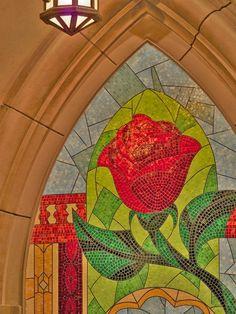 An Enchanted Rose Mosaic at Be Our Guest Restaurant in New Fantasyland at Magic Kingdom Park by aisha