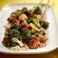 Sesame Chicken with Broccoli There is mouthwatering magic in the sweet-tart, spicy-salty balance of Chinese sauces like this one. Here it is poured over tender marinated chicken, sprinkled with a generous helping of toasted sesame seeds and served with the crisp clean contrast of steamed broccoli. Its just like the dish you get from the local takeout, only so much more delicious and better for you. by laverne