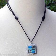 Silver-Necklace-Pendant-Handmade-Turquoise-Abalone-Stone-Alpaca-Cord-Jewelry-New