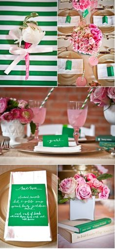 Emerald and Pink Wedding Inspiration - I like the gold incorporation but I think a wood grain would be better fitting, thoughts? Pale Pink Weddings, Pink Wedding Colors, Green Wedding, Wedding Themes, Wedding Blog, Wedding Decorations, Wedding Ideas, Rustic Wedding, Pink And Gold