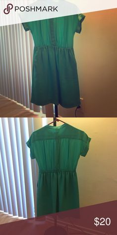 J Crew aqua dress J Crew Factory aqua colored dress with defined waist and pockets. Waist is elastic in the back for comfortable definition. Great on its own or with a belt. J. Crew Dresses Midi