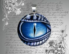 Glas Fliesen Halskette Anhänger Fantasy DRAGON EYE blau Mens Teen Womens Halskette 25mm