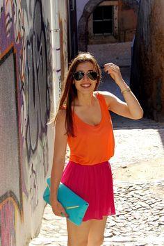 Brights: tangerine, pink, aqua
