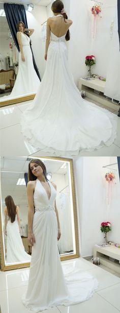 Eng anliegende Neckholder Rückenfrei Pinsel Schleppe Hochzeitskleid mit Strasssteinen Falten Brautkleider Brautkleid Lange Brautkleider