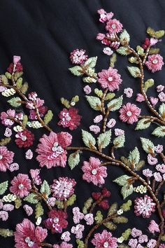 Haute Couture Fabric Hand beaded bloom of mulberry colored image 2 Zardozi Embroidery, Embroidery On Kurtis, Hand Embroidery Dress, Kurti Embroidery Design, Rose Embroidery, Embroidery Fabric, Embroidery Fashion, Hand Embroidery Designs, Embroidery Stitches