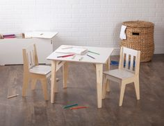 Sprout's wooden kids table and chairs are the perfect study table for kids. With durable 100% Baltic Birch construction, and tool-less artisan joinery, the wooden table and chairs assemble quickly, and last for years. Learn more about the wooden children's table and chairs at Sprout.