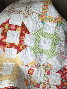 Baby Quilt Handmade Child Bright Riley Blake Hello by BabyBin  Kelly, this a pretty quilt. Do you see any you like?