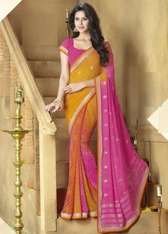 Shades of Orange and Pink Color Georgette Printed Sarees : Nireesha Collection YF-23300