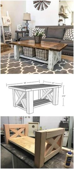 DIY farmhouse coffee table ideas from cute cubes to industrial wooden spools. Se… DIY farmhouse coffee table ideas from cute cubes to industrial wooden spools. See the best designs and discover your favorites! Farmhouse Furniture, Rustic Furniture, Home Furniture, Farmhouse Decor, Farmhouse Ideas, Modern Furniture, Outdoor Furniture, Antique Furniture, Furniture Storage