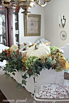 Autumn display in an old window box with white pumpkins. White Pumpkins, Fall Pumpkins, Autumn Display, Fall Displays, Pumpkin Display, Fall Arrangements, Centerpieces, Table Decorations, Autumn Decorating