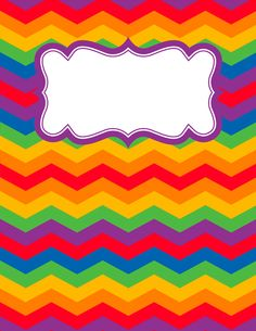 Free printable rainbow chevron binder cover template. Download the cover in JPG or PDF format at http://bindercovers.net/download/rainbow-chevron-binder-cover/