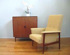 Mid Century DANISH MODERN Teak Curved Arm Vintage Lounge Chair. $795.00, via Etsy.