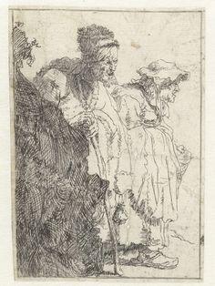 Anonymous   Bedelaar en bedelares, komende vanachter een heuveltje, Anonymous, Rembrandt Harmensz. van Rijn, 1625 - 1750   Getekende kopie naar de gelijknamige prent van Rembrandt.