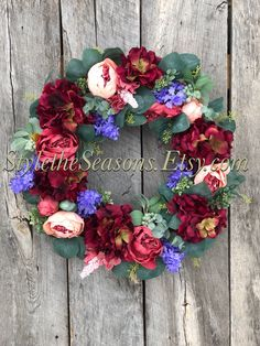 Excited to share the latest addition to my #etsy shop: Spring Floral Wreath, Spring Wreath, Spring Wreaths for Front Door, Hydrangea and Peony Wreath, Romantic Wreath, Elegant Spring Wreath