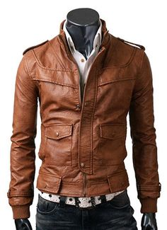 handmade Men Tan brown color Leather Jacket men by ukmerchant