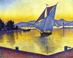 Le port au coucher du soleil, Saint-Tropez, Opus 236, huile sur toile de Paul Signac (1863-1935, France)