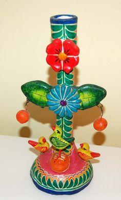 Tree of Life Candleholder Mexican Folk