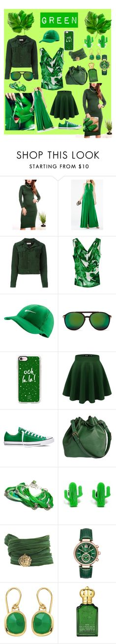 """GREEN"" by luthfiyyah-rachmawati on Polyvore featuring BCBGMAXAZRIA, Yves Saint Laurent, Dolce&Gabbana, NIKE, Wildfox, Casetify, Converse, Louis Vuitton, Finest Imaginary and Catherine Michiels"