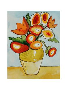 Fireflowers Super Mario/Van Gogh inspired art 85 by autogeography, $24.00