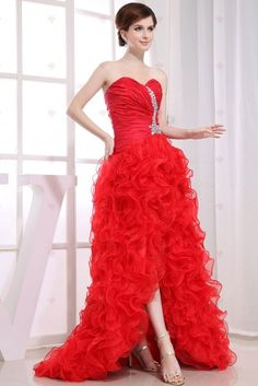 Eveing dress A-line Strapless Sweetheart-neck Short Front Long Back Red Organza Evening Dresses