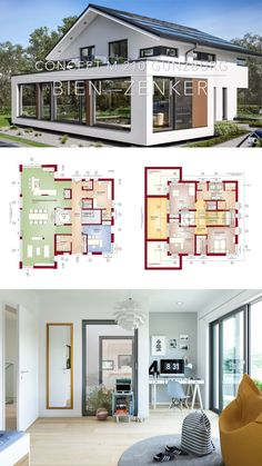 House Architecture Design Modern Contemporary European Style Floor Plans CONCEPT-M 210 Günzburg - Dream Home Ideas with Open Concept Modern Architecture Design, Architectural Design House Plans, Modern House Design, House Architecture, Open House Plans, House Floor Plans, Farmhouse Plans, Cottage Farmhouse, House Layouts