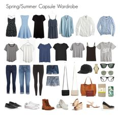 """Spring/Summer Capsule Wardrobe"" by nicomiler on Polyvore featuring Joseph, Uniqlo, TOMS, Madewell, Zara, J.Crew, Silence + Noise, Nicole Miller, Converse and Frame"