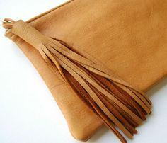 Leather Tassel Clutch