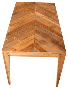 much better! Wooden Dining Table Chevron Design crafted from recycled pallets