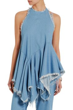Shop on-sale Marques' Almeida Frayed denim halterneck top. Browse other discount designer Tops & more on The Most Fashionable Fashion Outlet, THE OUTNET.COM