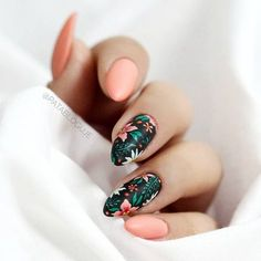 Nail art is a very popular trend these days and every woman you meet seems to have beautiful nails. It used to be that women would just go get a manicure or pedicure to get their nails trimmed and shaped with just a few coats of plain nail polish. Tropical Nail Art, Tropical Flower Nails, Tropical Nail Designs, Cute Summer Nail Designs, Floral Nail Art, Nail Art Flowers, Nagel Gel, Nail Decorations, Stylish Nails