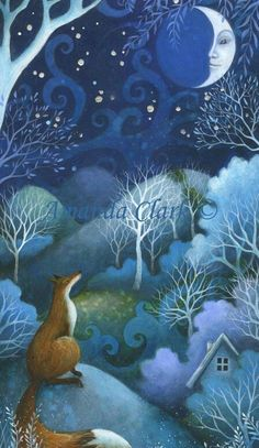 Substitute white rabbit for fox; accent house a bit more (purple?)  Painting by Amanda Clark