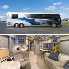 A Prevost Bus conversion is the ultimate luxury motorhome. Marathon is the leader in luxury bus conversions, service and technology. Browse our inventory. Bus Motorhome, Motorhome Interior, Rv Bus, Prevost Coach, Prevost Bus, Luxury Rv Living, Marathon Coach, Rv Floor Plans, Luxury Motorhomes