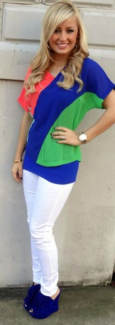 this is my niece . Get ready for spring with this color block top, white skinny jeans, and adorable blue wedges!!