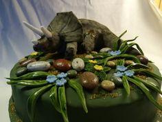 Eine Sandkuchentorte mit Schokocreme und Fondantüberzug. Der Tryceratops ist aus Ricecrispies Masse die ich selbst gemacht habe. Überzogen mit Fondant und mit Lebesnsmittelfarben bemalt! Cake Art, Fondant, Birthday Cake Toppers, Cakes, Fondant Icing, Art Cakes, Gum Paste