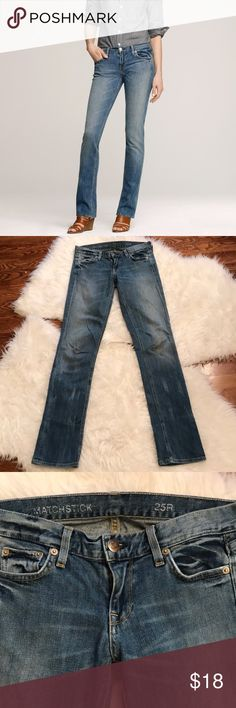 """J. Crew Matchstick Jean In Lived In Wash J. Crew Matchstick jean in Lived In wash. Excellent condition. J. Crew's much-loved Matchstick jean was stonewashed down to a great mid-blue hue, then handsanded for that had-it forever softness and a subtle vintage-inspired tint. Italian cotton with a hint of stretch. Sits on hips. Slim through hip and thigh, with a straight, narrow leg. Belt loops. Zip fly. Traditional 5-pocket styling. Inseam is about 32."""" 98% cotton, 2% Elastan. Size 25. J. Crew…"""
