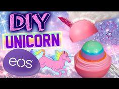DIY Unicorn EOS Lip Balm!   Turn Your EOS Into A Unicorn!   Rainbow Glitter EOS! - YouTube