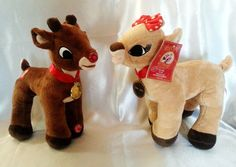 """Rudolph Clarice Plush Toy Set Both Musical Light Up 50TH Anniversary 15"""" New #DanDee"""
