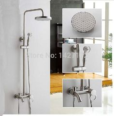 Luxury Brushed Nickel Rainfall Shower Faucet Set Tub Mixer Tap W Hand