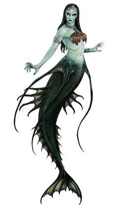Angry Bob takes a flat image and transforms it into Size Mermaid Artwork, Mermaid Drawings, Mermaid Tattoos, Mermaid Paintings, Evil Mermaids, Fantasy Mermaids, Mermaids And Mermen, Mythical Creatures, Sea Creatures