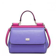 Kontrastująca torebka miejska Purpurowa