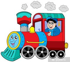 Steam locomotive with engine driver - vector illustration. Train Cartoon, Disney Princess Toddler, Learn To Sketch, Train Pictures, Class Decoration, Steam Locomotive, Card Maker, Scrapbooking Layouts, Wall Murals