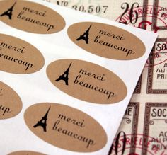 55 Eiffel Tower MERCI BEAUCOUP Kraft Brown OVAL Stickers for scrapbooking, gift wrapping, sealing envelopes, packaging on Etsy, $4.50