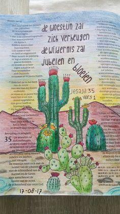 Jesaja 35:1 De woestijn zal bloeien. made by Debora H. #biblejournaling #bibleart Bible Study Journal, Journal Art, Art Journaling, My Bible, Bible Art, Bible Quotes, Art Journal Inspiration, Daily Inspiration, Coloring Bible
