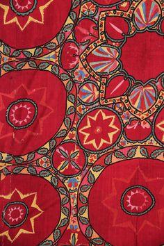 Uzbek suzani detail, silk embroidered , Tashkent region, Uzbekistan, circa 1880.