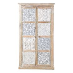 Indian Wooden Silver Wardrobe Annapurna: Gift your bedroom with a real gem with the Annapurna silver Indian wardrobe. This hand-carved wood wardrobe is adorned with silver and white painted floral motifs.
