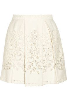 SEA Pleated crocheted lace mini skirt | THE OUTNET